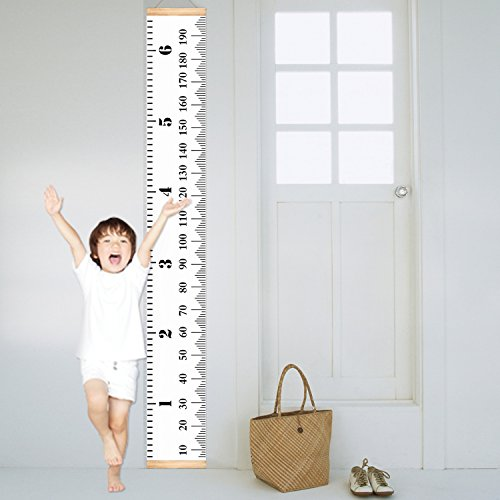 UNIQUEBELLA Handing Ruler Wall Decor for Children Baby Growth Chart Height Record Talltape for Kids Nursery Room Canvas Removable Roll Up (Hand Painted Wooden Growth Charts)
