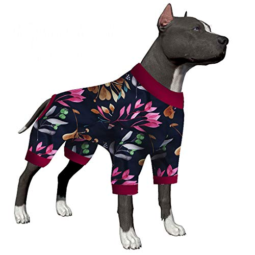 LovinPet Big Dog Pajamas/Berries Navy Fabric Prints for Large Dog Jamammies/Boxer Dog Pajamas, Lightweight Pullover Dog…