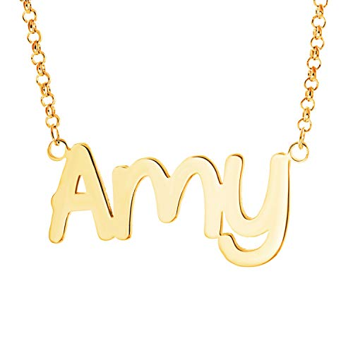 Fujin Personalized Necklace Custom Name Nameplate Pendant Necklace for Women in Silver -Gift to The One (Amy in Gold)