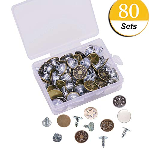 Replacement Rivets - 80 Sets Jeans Button Tack Buttons Metal Replacement Kit with Rivets Storage Box, 8 Styles
