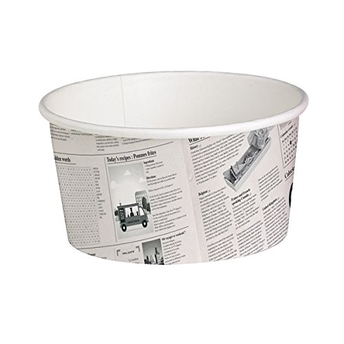 PacknWood Round Newspaper Print Paper Deli Container, 20 oz Capacity (Case of 500) by PacknWood