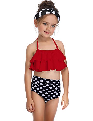 Queen.M Sexy Halter Neck Bikini Set Padded Top High Waisted Bottom Swimsuit Bathing Suit Swimwear for Women Girls Adult Child Red