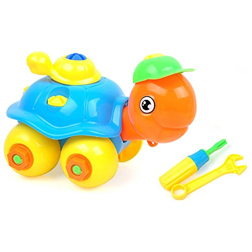 GreenSun TM Plastic DIY Assemble/Disassemble Turtle Car with Wrench Screwdriver Tools Set Kids Educational Hand Work Building Turtle Toy