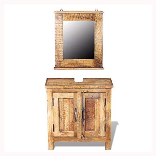 K&A Company Bathroom Vanity Cabinet with Mirror Solid Mango Wood