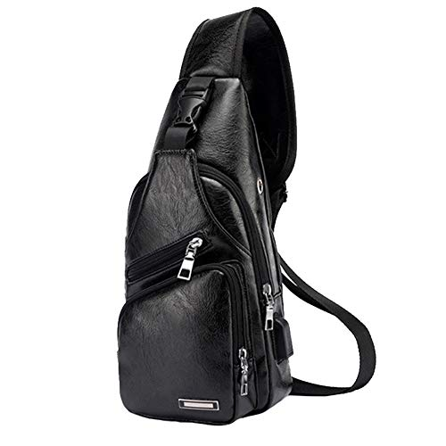 59a0165b1810 Large Men's Leather Sling Bag Chest Shoulder Backpack Water waterproof  Crossbody Bag with USB Charging Port for Travel, Hiking,Cycling (Large  Black)
