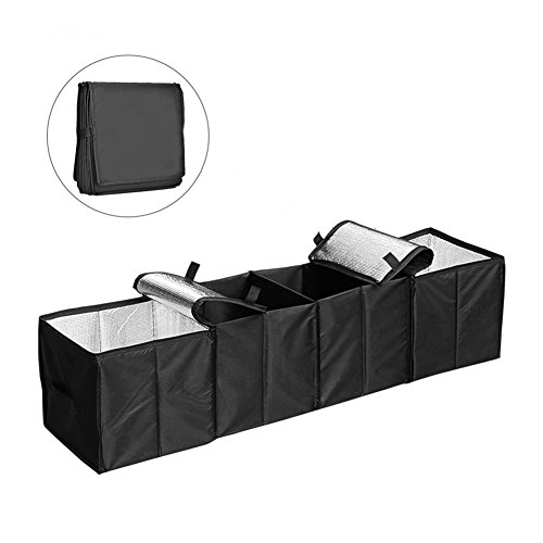 Collapsible Car Trunk Organizer, Cozyswan Fabric Auto Trunk Storage Container Foldable Multi 4 Compartments Fabric Storage Basket and Cooler & Warmer Set, Black (Trunk Basket)