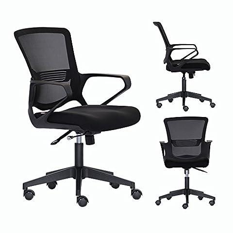 Bonsaii Mid-Back Ergonomic Mesh Office/Home/School/Gaming Chair, Adjustable and Swivel, Padded High-Density Sponge Seat with Annular Arm, Black - Tufted Zebra Rug