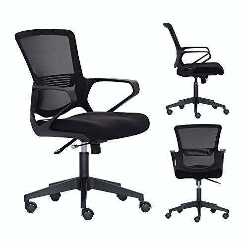 Bonsaii Mid-Back Ergonomic Mesh Office/Home/School/Gaming Chair,Adjustable and Swivel,Padded High-Density Sponge Seat with Annular Arm ,Black (MB-N20B)