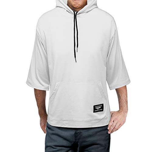 Zackate Mens Solid Color 3/4 Sleeve Hooded T-Shirts Loose Drawstring Hoodies Sweatshirts with Pocket White