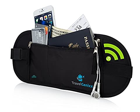 Money Belt Waist Pack and Passport Holder Hidden Travel Accessory for Men and Women with RFID protection wallet