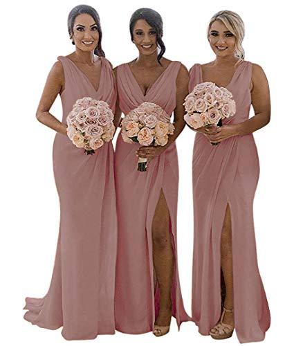 (MARSEN Slit Bridesmaid Dresses Long V-Neck Chiffon Pleated Beach Wedding Party Dress 2019 Dusty Pink Size 14)