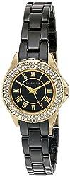 Anne Klein Women's AK/2204BKGB Swarovski Crystal Accented Black Ceramic Bracelet Watch