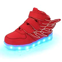 Wings Led Light Up Shoes 11 Colors Flashing Rechargeable Sneakers Ankel Boots for Kids Boys Girls (Toddler/Little Kids/Big Kids)