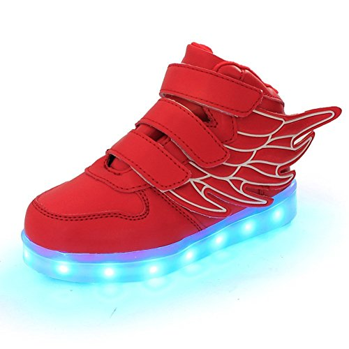 Wings Led Light Up Shoes 11 Colors Flashing Rechargeable Sneakers Ankel Boots for Kids Boys Girls (Toddler/Little Kids/Big Kids)-(White 10 M US Toddler)