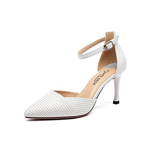 YXINY Zapatos de tacón Sandalias Tacones Mujeres De Moda Baotou Temporada De Verano 8cm Blanco / Rosa / Negro ( Color : Negro , Tamaño : EU37/UK4.5-5/CN37 ) Blanco