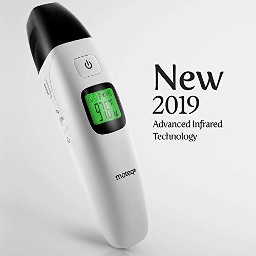MOTEQ Forehead Thermometer Digital Infrared - [Upgrade] 5-in-1 Ear-Forehead/Object/Liquids/Room- Fever Alarm - Instant Reading- Accurate - Baby/Gentile - Hygienic - Medically Proven CE/FDA [FR408]