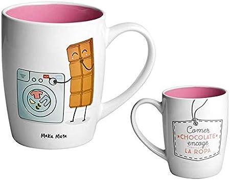 MAKUMURA Tazas de Desayuno Originales y Divertidas-Taza con Mensaje Gracioso - Cerámica 330 ml (Comer Chocolate Encoge la Ropa): Amazon.es: Hogar