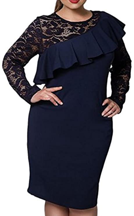 Elegante Tinta Dress Plus Fensajomon Patchwork Unita Womens Pizzo Tunica Top In Size CagpwZ