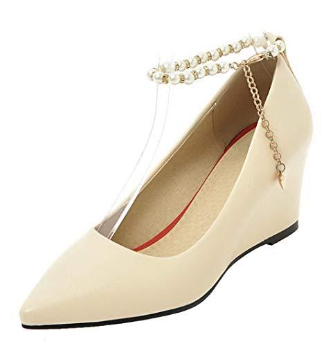 Talon gmbdb011993 Femme D'orteil Boucle Beige Chaussures À Fermeture Légeres Agoolar Correct qXzSwpp1