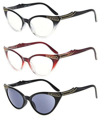 Eyekepper Womens 3 Pairs Reading Glasses Ladies' Vintage Cat Eye Readers, Include Sun Readers (Black Transparent/Red Transparent/Grey Lens, - Eye Cat Readers