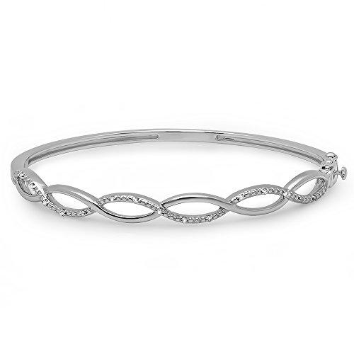 (Dazzlingrock Collection 0.08 Carat (ctw) Round Cut White Diamond Ladies Swirl Bangle Bracelet, Sterling Silver)
