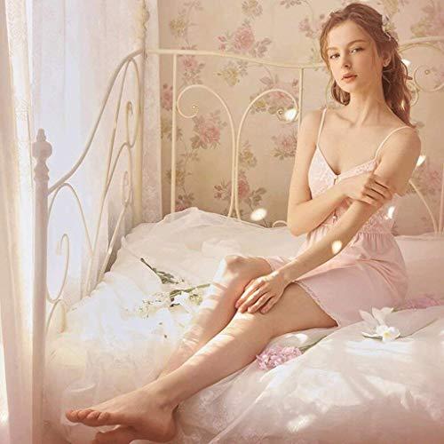 Chica Elegante pink Damas Camisón Correa Más Hell Clásico Encaje V Vestido Có Uomun Cuello De Plus Verano color S Mangas Hombre Moda Princesa Sin Babydoll 0FvSXW5
