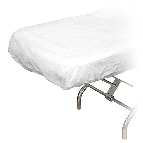 10 Ct. White Disposable Elastic Fitted Bed Sheets Cover Massage Table Facial Chair Spa by Gold Cosmetics & Supplies (Image #1)