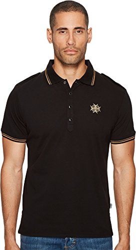 Just Cavalli  Men's Epaulet Polo Black - Just Men Cavalli