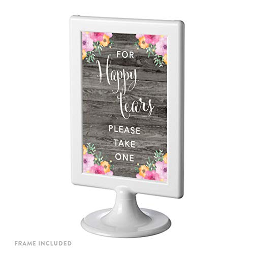 Andaz Press Framed Wedding Party Signs, Rustic Gray Wood Pink Floral Flowers, 4x6-inch, for Happy Tears Tissue Kleenex Ceremony Sign, 1-Pack, Includes Reusable Photo Frame ()