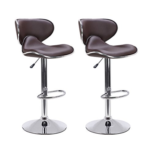 LCH Adjustable Swivel PU Leather Bar Stools - Set of 2 Saddle Back Design Bar Stool Chairs with Polished Chrome Base and Footrest, Brown Leather Two Seat Bar Stool