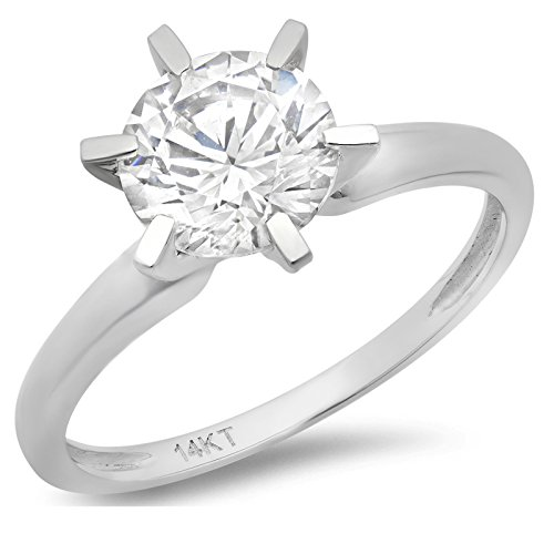 nd Cut Simulated Diamond CZ Solitaire Engagement Wedding Ring Solid 14k White Gold, Size 5.5 (14k Simulated Diamond Engagement Ring)