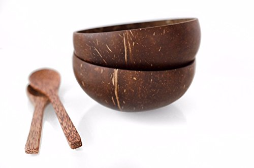 Kalea Set of 2 Coconut Bowls with Spoons - Real Natural Coconut Shells - The Eco Friendly, Practical and Fun Way To Eat Healthy ()