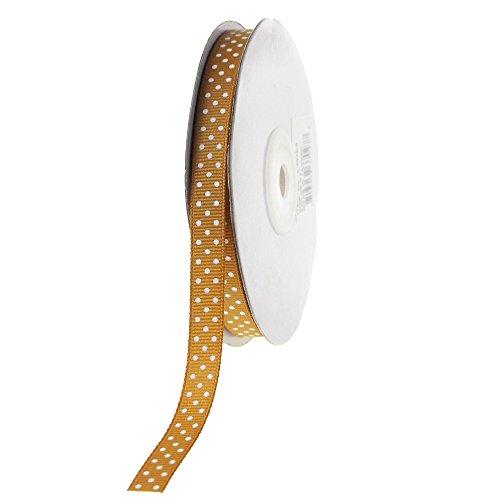 - Homeford FHV0000000037027 Swiss Dots Grosgrain Ribbon, 3/8-Inch, Gold/White