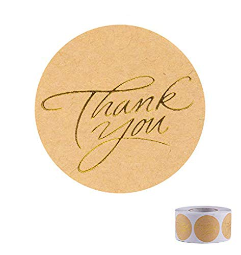 Thank You Sticker (Thank You Stickers Kraft Round Foil Easy-Pull Adhesive Foil Labels)