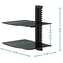 Duramex (TM) Wall Mount AV DVD Cable box, Game Console, Component Shelving System with 2 Adjustable Tempered Glass Shelves (Black)