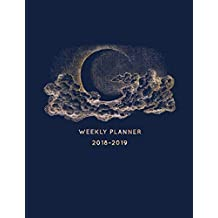 Weekly Planner 2018-2019: 18 Month Mid Year Planner 8x5 in | Jul 18 - Dec 19 | Motivational Quotes, To Do Lists, Holidays + More | Vintage Hand Drawn Moon