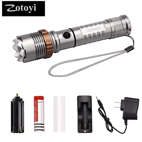 T55 Replacement (LED Flashlight, Zotoyi Super Bright 1000 Lumens XML T6 LED Handheld Torch Light Rechargeable Flashlight Waterproof 5 Light Modes Zoomable Adjust Focus)