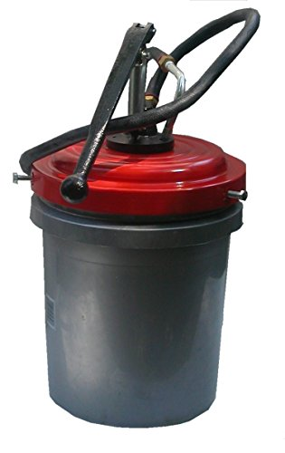 Manual Gear Lube & Oil Dispenser Bucket Pump; (Clamp on Pail Pump) with Cover, Hose & Curved Nozzle (Clamps to a 5 Gallon Standard Refinery Container).