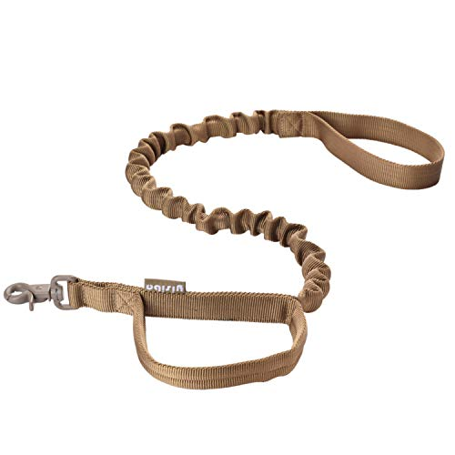 yisibo Tactical Bungee Dog Leash-2 Handle-No Pull-Military Dog Training Leash(Coyote Brown)