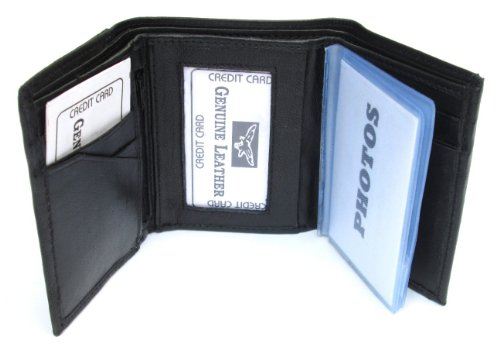 Mens Black Leather Wallet Lambskin Trifold ()