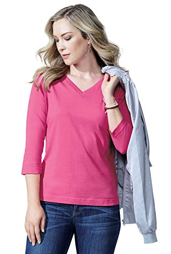 LAT Ladies' 100% Cotton Jersey V-Neck 3/4 Sleeve Tee (Charcoal, Xtra - 3/4 Cotton Ladies Shirt Sleeve