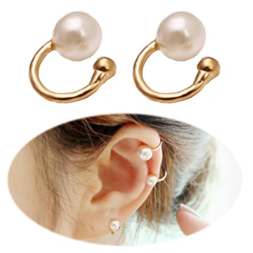 Tiny Vine (Faux Pearl U Studs Ear Crawler Earrings Cuffs Climber Ear Wrap Pin Vine Non-pierced Charm Clip On Jewelry Small Pearl Golden Tone)