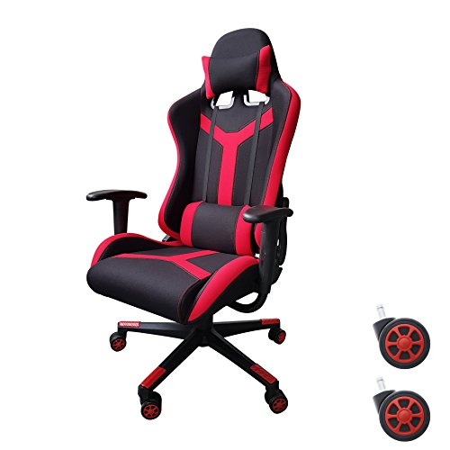 Video Gaming Chair Executive Swivel Racing Style High-Back Office Chair Lumbar Support Ergonomic With Headrest - Red