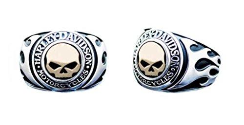 Harley-Davidson Men's Ring, Flames Willie G Skull 14kt Gold Inlay HMR0019 (11) Flame Skull Ring