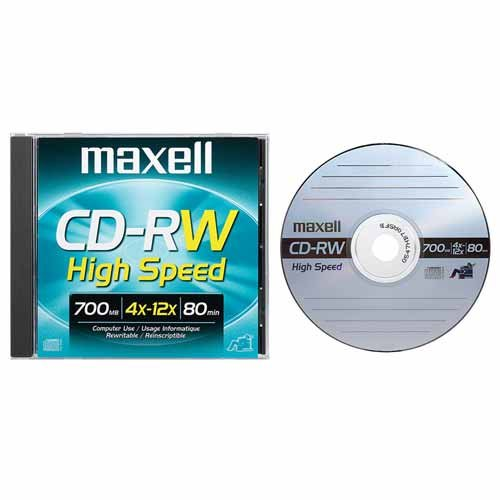 Maxell CD-RW Rewritable Media 700MB High Speed 4x-12x by Maxell