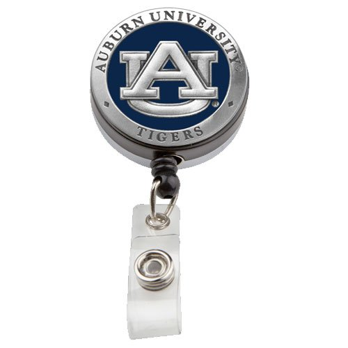 Auburn University Badge Reel -For Women or Men-Pewter and Enamel- Show Your Support and Pride for the Tigers -Perfect for Employee ID Badges and Swipers, Great Gift for Professionals, Teachers and Nurses (Auburn String Pack)