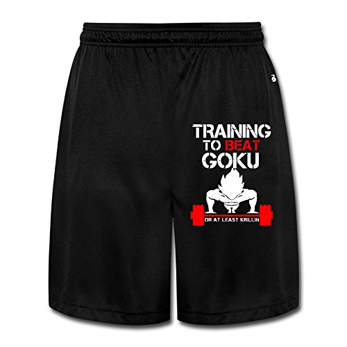 Boss-Seller Men's Charm TRAINING TO BEAT GOKU OR AT LEAST KRILLIN GYM Short Sweatpants Size M Black
