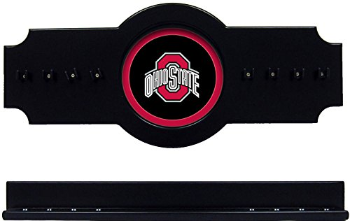 NCAA Ohio State Buckeyes OSUCRR100-B 2 pc Hanging Wall Pool Cue Stick Holder Rack - Black by wave