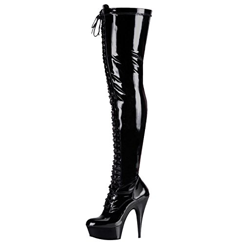 Pleaser - Sexier Than Ever Plateau Overknee Stiefel Delight-3023
