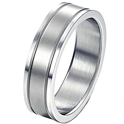 6 Mm Channel Set (Mens 6mm Stainless Steel Channel Set Silver Ring Engagement Wedding Promise Two Grooves Polished)